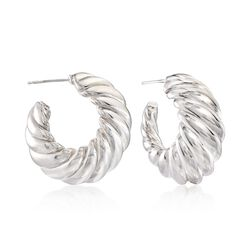 Italian Sterling Silver Shrimp Hoop Earrings, , default