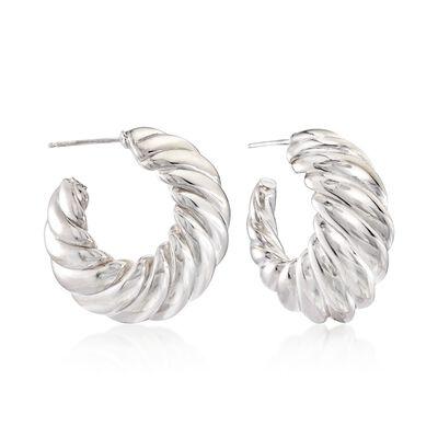 Italian Sterling Silver Shrimp Hoop Earrings, , default