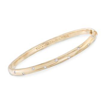 "C. 1980 Vintage Tiffany Jewelry ""Etoile"" .30 ct. t.w. Diamond Bangle Bracelet in Platinum and 18kt Yellow Gold. 7.5"", , default"