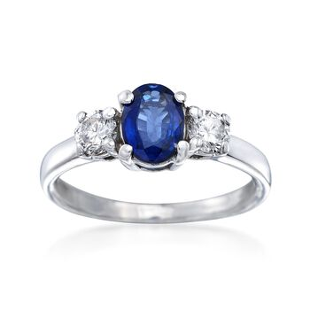 C. 1990 Vintage .75 Carat Sapphire and .36 ct. t.w. Diamond Ring in 14kt White Gold. Size 5.5, , default