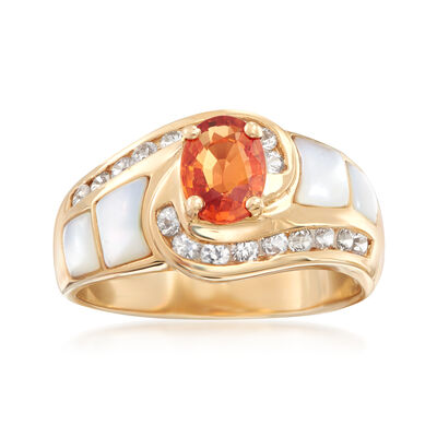 Mother-Of-Pearl and 1.30 ct. t.w. Multicolored Sapphire Ring in 14kt Yellow Gold