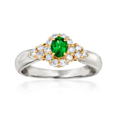 C. 1990 Vintage .29 Carat Green Garnet and .27 ct. t.w. Diamond Ring in Platinum and 18kt Yellow Gold