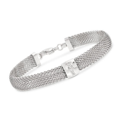 Stainless Steel Mesh Bracelet with Crystals, , default