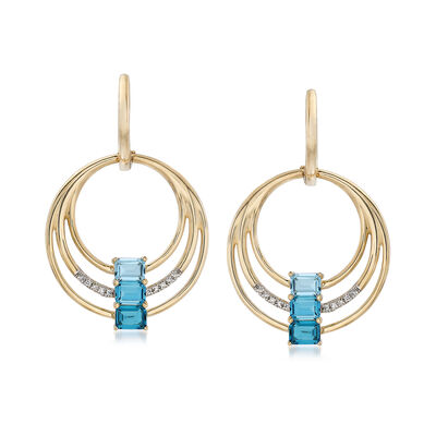 1.70 ct. t.w. Blue Topaz Multi-Circle Drop Earrings in 14kt Yellow Gold with Diamond Accents, , default