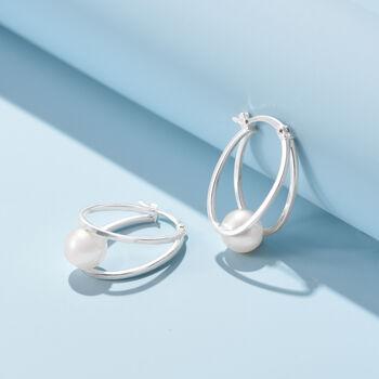 "8-9mm Cultured Pearl Double-Hoop Earrings in Sterling Silver. 1"""