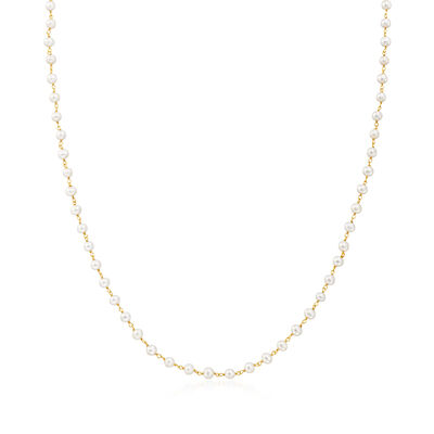 3-In-1 Cultured Pearl Necklace, Mask Holder and Eyeglass Chain in 18kt Gold Over Sterling