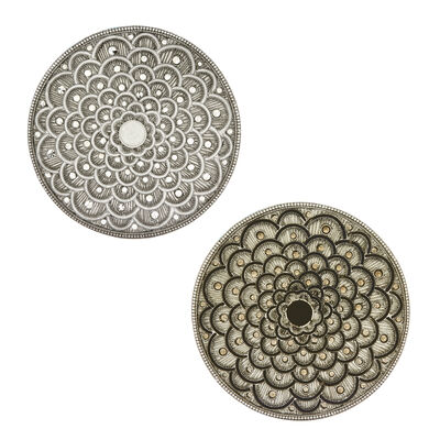 Silver Floral Round Coaster