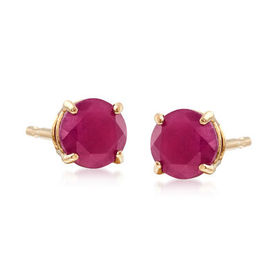 .60 ct. t.w. Round Ruby Earrings in 14kt Yellow Gold