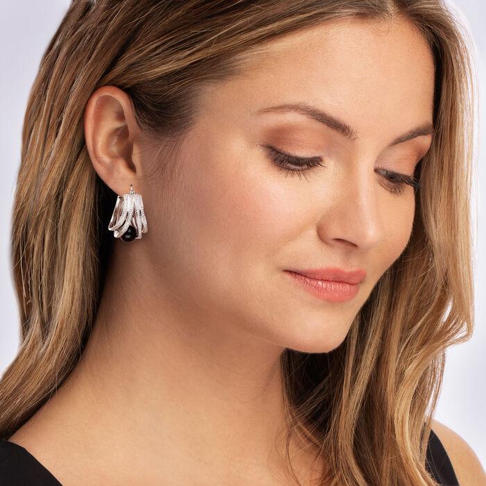 Black Onyx and .90 ct. t.w. White Topaz Hoop Earrings in Sterling Silver