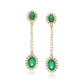 1.90 ct. t.w. Emerald and .86 ct. t.w. Diamond Drop Earrings in 18kt Gold , , default