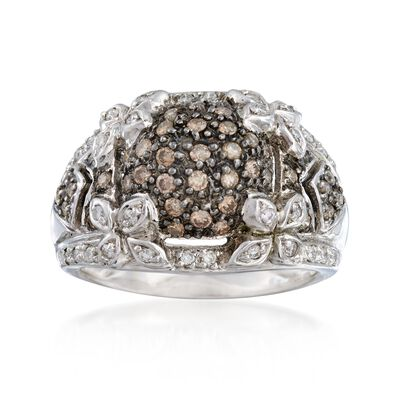 C. 1990 Vintage .85 ct. t.w. Brown and White Diamond Floral Ring in 14kt White Gold, , default