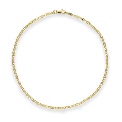 14kt Yellow Gold Anchor-Link Anklet, , default