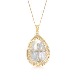 Mother-Of-Pearl Cross Pendant Necklace in 14kt Two-Tone Gold, , default