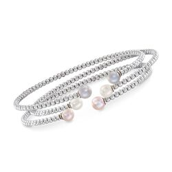 5.5-6mm Cultured Multicolored Pearl Jewelry Set: Three Sterling Silver Cuff Bracelets. Size 7.5, , default
