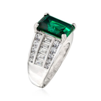 5.10 Carat Simulated Emerald and 1.20 ct. t.w. CZ Ring in Sterling Silver