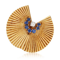 C. 1970 Vintage .65 ct. t.w. Sapphire and .15 Carat Diamond Fan Pin in 18kt Yellow Gold, , default