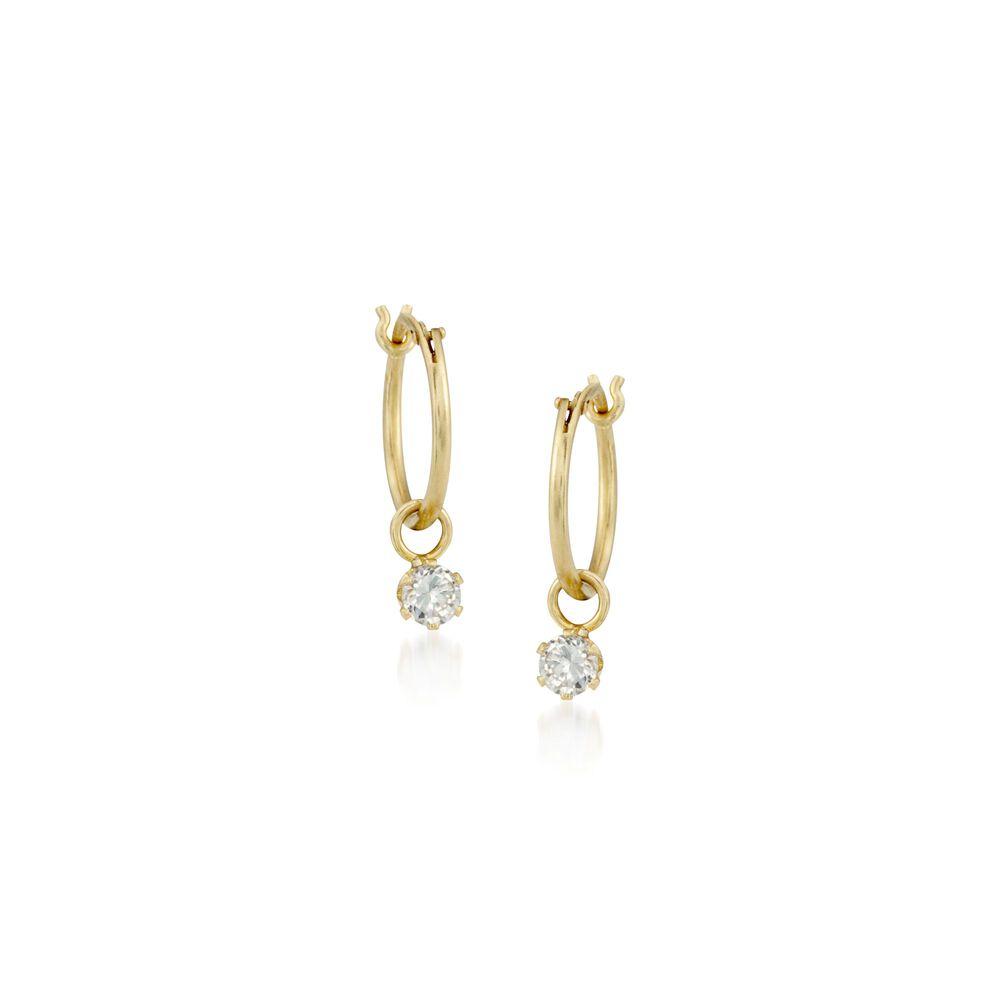 T W Cz Hoop Earrings In 14kt Yellow Gold 5