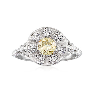 C. 1980 Vintage 1.30 ct. t.w. Yellow and White Diamond Cluster Ring in 18kt White Gold