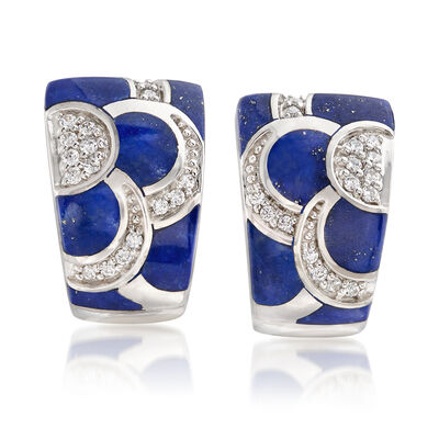 "Belle Etoile ""Adina"" Lapis and .35 ct. t.w. CZ Hoop Earrings in Sterling Silver, , default"