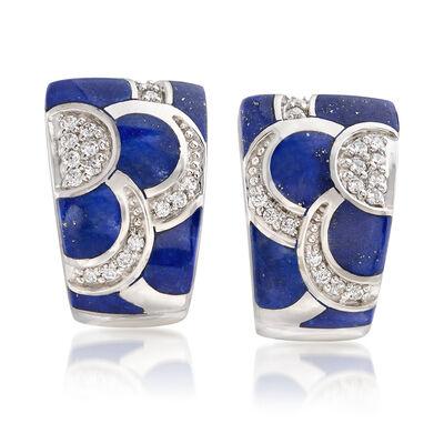 "Belle Etoile ""Adina"" Lapis and .35 ct. t.w. CZ Hoop Earrings in Sterling Silver, , default"
