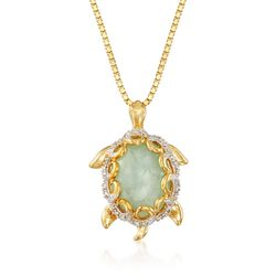 "Green Jade and .10 ct. t.w. Diamond Turtle Pendant Necklace in 18kt Gold Over Sterling. 18"", , default"