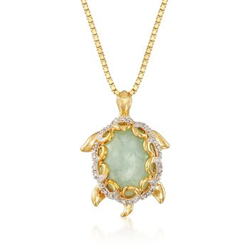 """Green Jade and .10 ct. t.w. Diamond Turtle Pendant Necklace in 18kt Gold Over Sterling. 18"""", , default"""