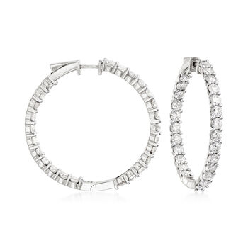 "10.00 ct. t.w. Diamond Inside-Outside Hoop Earrings in 14kt White Gold. 1 1/2"", , default"
