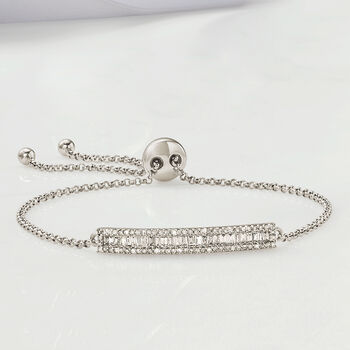 .51 ct. t.w. Baguette and Round Diamond Bar Bolo Bracelet in 14kt White Gold, , default