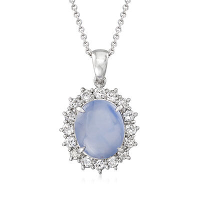 C. 1980 Vintage 5.25 Carat Star Sapphire and .63 ct. t.w. Diamond Pendant Necklace in Platinum and 18kt White Gold