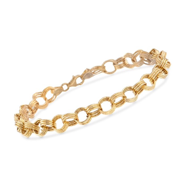Italian 14kt Yellow Gold Textured and Polished Circle-Link Bracelet
