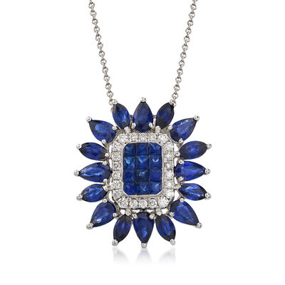 3.50 ct. t.w. Sapphire and .20 ct. t.w. Diamond Pendant Necklace in 18kt White Gold, , default