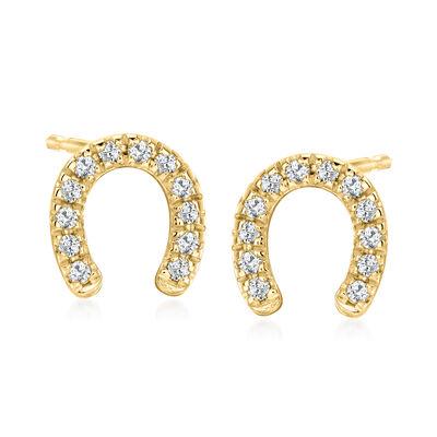 .10 ct. t.w. Diamond Horseshoe Stud Earrings in 18kt Gold Over Sterling
