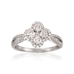 Gregg Ruth 1.00 ct. t.w. Diamond Flower Ring in 18kt White Gold, , default