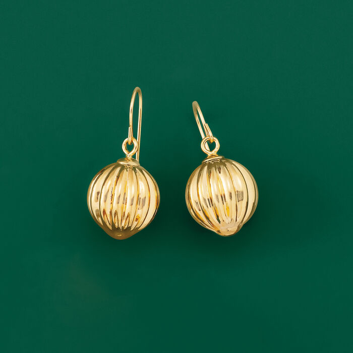 Italian Andiamo 14kt Yellow Gold Fluted Ball Drop Earrings
