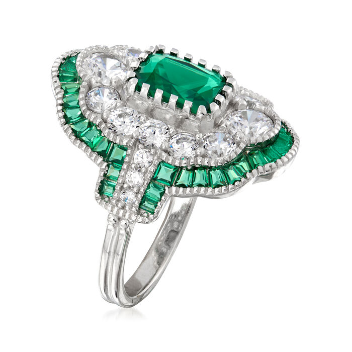 2.38 ct. t.w. Simulated Emerald and 1.95 ct. t.w. CZ Ring in Sterling Silver