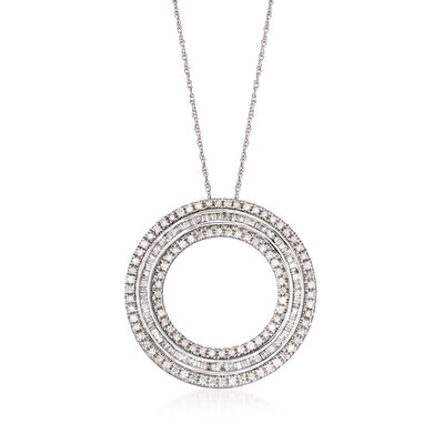 1.00 ct. t.w. Diamond Open Circle Pendant Necklace in 14kt White Gold, , default