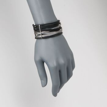 "ALOR ""Noir"" Black and Gray Stainless Steel Cuff Bracelet with Diamond Accent"