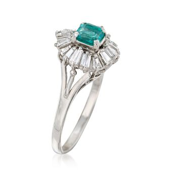 C. 1980 Vintage.60 Carat Emerald and .75 ct. t.w. Diamond Ring in Platinum. Size 8.75, , default