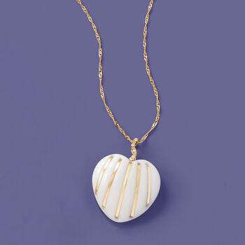 20mm White Agate Striped Heart Pendant in 14kt Yellow Gold, , default