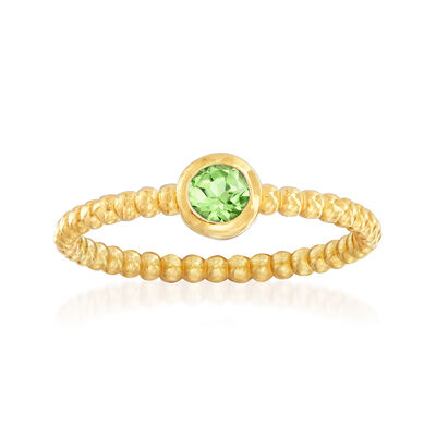 "Phillip Gavriel ""Popcorn"" .20 Carat Peridot Beaded Ring in 14kt Yellow Gold"
