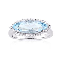 2.70 Carat Marquise Sky Blue Topaz and .10 ct. t.w. White Topaz Ring in Sterling Silver, , default