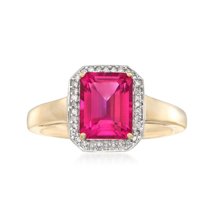 2.70 Carat Pink Topaz and .10 ct. t.w. Diamond Ring in 14kt Yellow Gold, , default