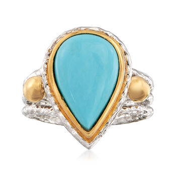Pear-Shaped Kingman Turquoise Ring in Two-Tone Sterling Silver, , default