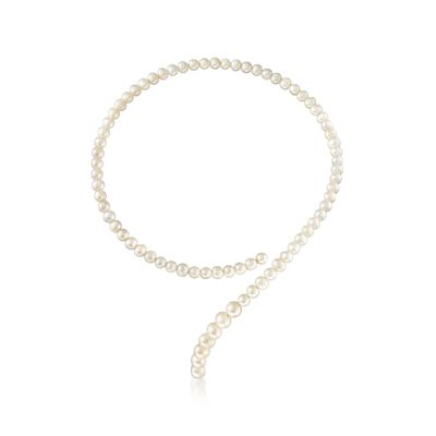 6-8mm Cultured Pearl Coiled Choker Necklace, , default