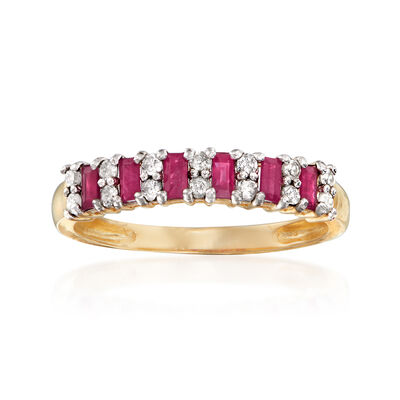 .30 ct. t.w. Ruby and .21 ct. t.w. Diamond Ring in 14kt Yellow Gold