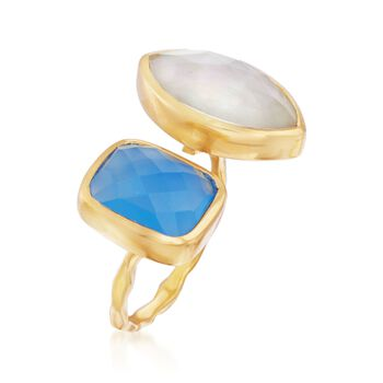 Mother-Of-Pearl Doublet and Blue Chalcedony Cuff Ring in 18kt Gold Over Sterling, , default