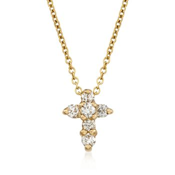 Roberto Coin .11 ct. t.w. Diamond Cross Necklace in 18kt Yellow Gold, , default
