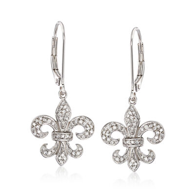 .28 ct. t.w. Diamond Fleur-De-Lis Drop Earrings in Sterling Silver, , default