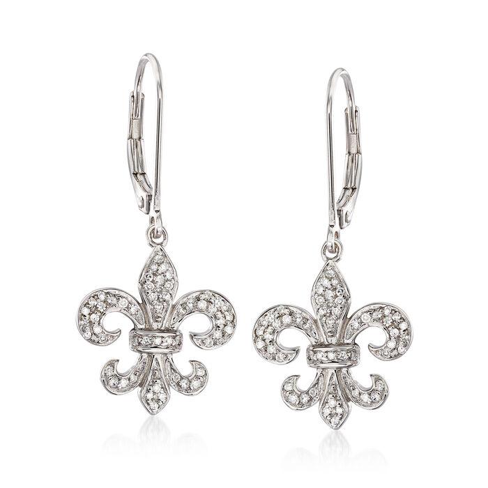 .28 ct. t.w. Diamond Fleur-De-Lis Drop Earrings in Sterling Silver