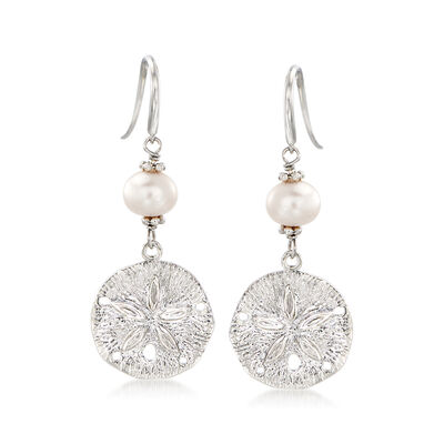 6.5-7.5mm Cultured Pearl and Sterling Silver Sand Dollar Drop Earrings, , default